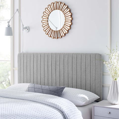 Milenna Channel Tufted Upholstered Fabric Full/Queen Headboard