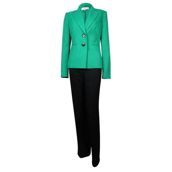 Evan Picone Women's Madison Ave Notch Woven Pant Suit - Emerald/Black