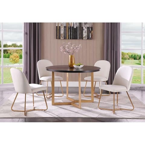 Morden Fort Contemporary luxaury Dinning Table Set with 4 Hexagonal Chair and a Round Table Set