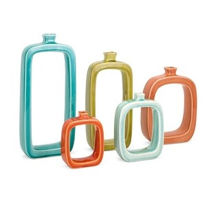 """Set of 5 Colorful """"Warlow"""" Open Concept Ceramic Table Top Vases"""