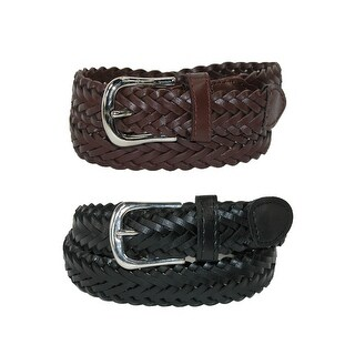 CTM® Boys' Leather Adjustable Braided Dress Belt (Pack of 2 Colors) - black and brown
