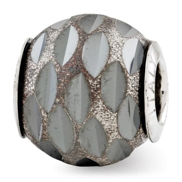 Italian Sterling Silver Reflections Velvet Black Diamond Cut Bead (4mm Diameter Hole)