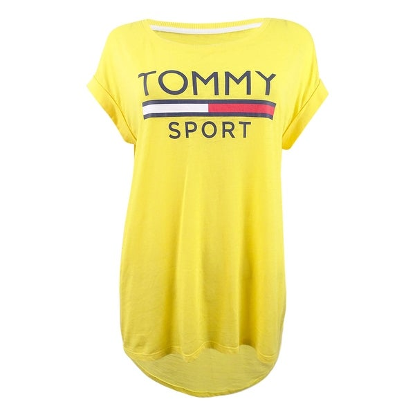 44da0f58 Shop Tommy Hilfiger Women's Sport Logo Rolled-Sleeve T-Shirt (M, Dandelion)  - Dandelion - M - Free Shipping On Orders Over $45 - Overstock - 27882332