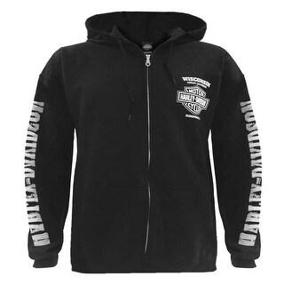Harley-Davidson Men's Lightning Crest Full-Zippered Hooded Sweatshirt, Black