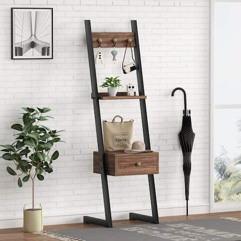 3-in-1 Industrial Tall Nightstand with Drawer, Rustic Hall Tree Bedside Table Entryway Table with 3 Hooks for Tall Bed