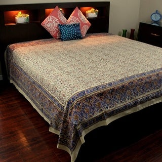 Block Print Tapestry Wall Hanging Cotton Floral Tablecloth Spread Blue Red Full 88 x 108 inches