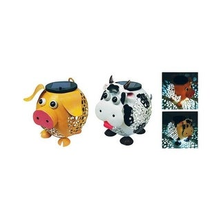 Alpine SCC269ABB-L Metal Solar Farm Animal Lantern - pack of 4
