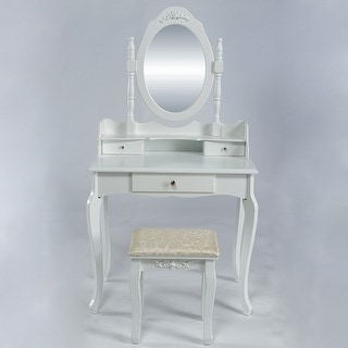 Belleze Makeup Vanity Table Set with Mirror and Stool Dressing Bedroom Table Dresser Desk, White
