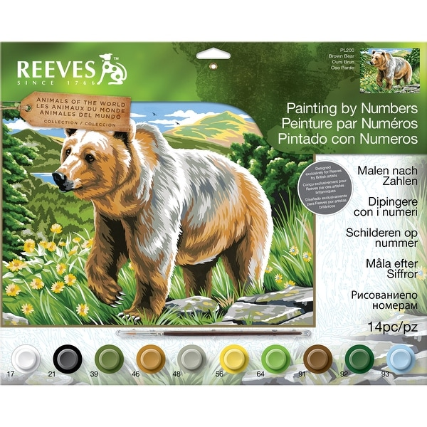 "Paint By Number Kit 12""X16""-Large Brown Bear"