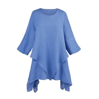 Women's Layered Linen Tunic Top - Sharkbite Hem 3/4 Sleeves (More options available)