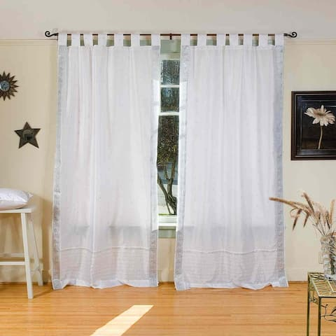 White Silver Tab Top Sheer Sari Curtain / Drape / Panel - Piece