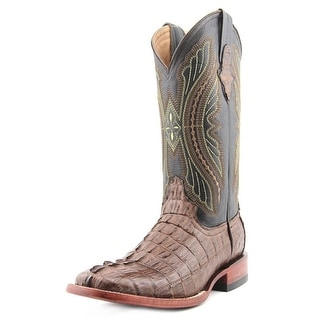 Ferrini HB Caiman Tail Men Square Toe Leather Brown Western Boot