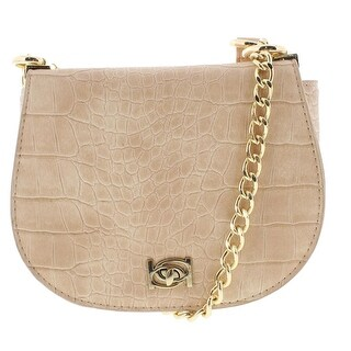 Bebe Womens Michelle Saddle Handbag Embossed Faux Leather - small