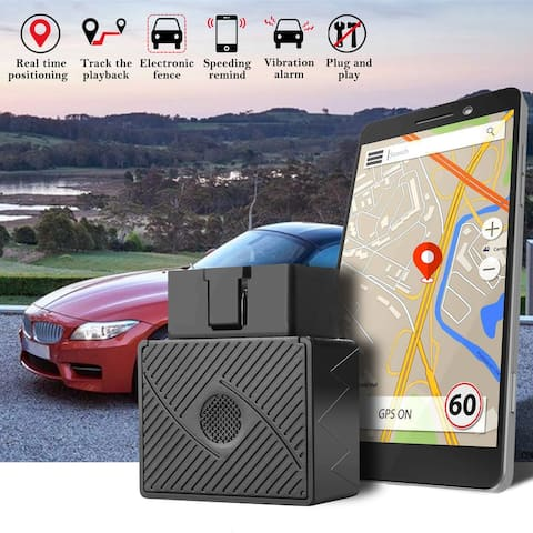 OBD2 GPS Tracker for Vehicles Hidden Real Time Tracking Device Car Truck Locator - Silver - M