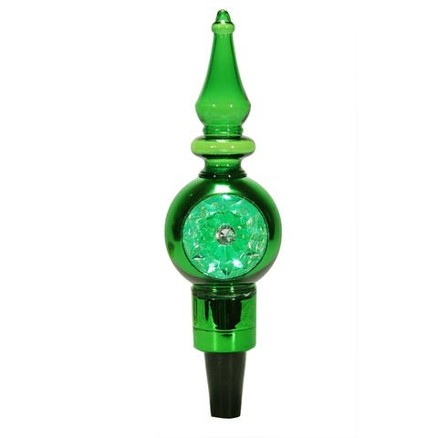 """8"""" LED Lighted Shiny Green Retro Finial Wine Bottle Stopper - N/A"""