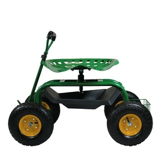 Sunnydaze Rolling Garden Cart with Extendable Steering Handle, Swivel Seat & Basket