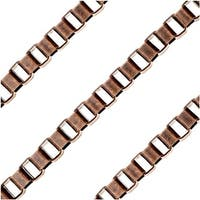 Antiqued Copper Plated Bulk Chain, 4x3mm Venetian Box Links, Sold By The Foot