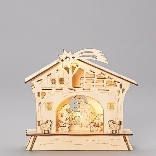 "Roman 6.5""led Plastic wood lasercut nativity scene B/O W/O batt"