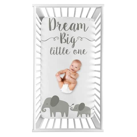 Elephant Collection Boy or Girl Photo Op Fitted Crib Sheet - Grey and White Watercolor Jungle Safari