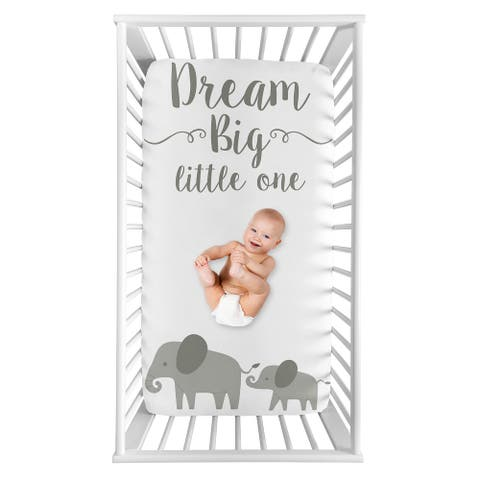 Watercolor Elephant Collection Girl Photo Op Fitted Crib Sheet - Grey and White Jungle Safari Animal
