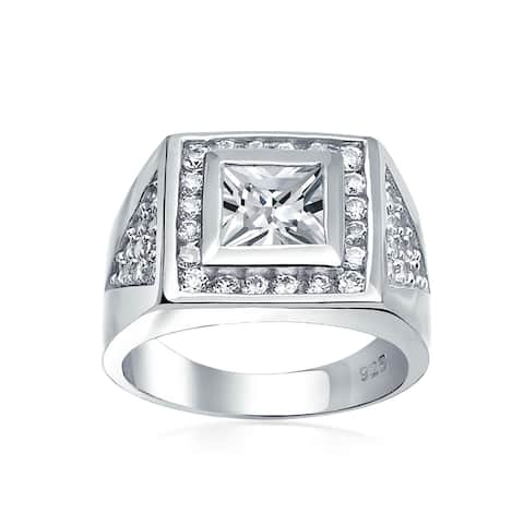 6CT Princess Cut AAA CZ Mens Engagement Ring CZ Triangle Wedding Band