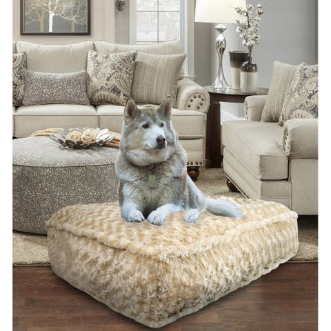 Bessie and Barnie Camel Rose Ultra Plush Faux Fur Luxury Durable Sicilian Rectangle Pet/Dog Bed