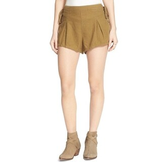 Free People NEW Olive Green Women's Size XS Lace-Up Pleated Shorts