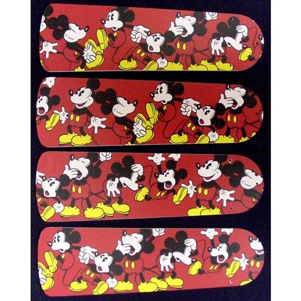 Red Mickey Mouse Custom Designer 42in Ceiling Fan Blades Set - Multi