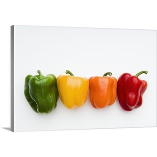 Premium Thick-Wrap Canvas entitled Green, yellow, orange and red organic peppers