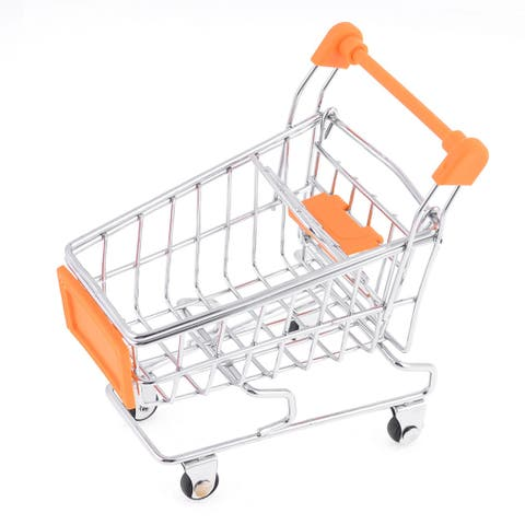 Orange Mini-Shopping Cart Model Toy Container for Children Kids
