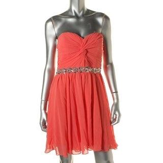 City Studio Womens Juniors Semi-Formal Dress Embellished Strapless