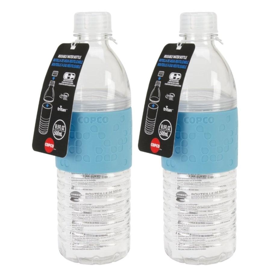Copco Hydra Water Bottle Non Slip Sleeve BPA Free Plastic 16.9 Oz 3 Pack Gray