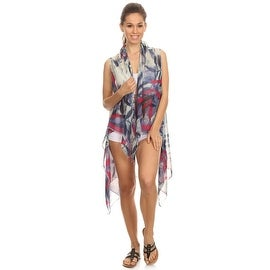 Womens Bamboo Lightweight Sleeveless Poncho with Armholes.
