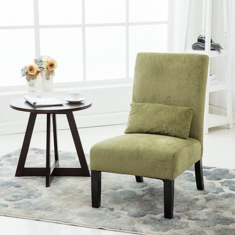 Porch & Den Vista Chenille Upholstered Armless Accent Chair with Matching Kidney Pillow
