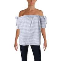 Aqua Womens Blouse Striped Off-The-Shoulder