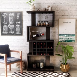 Link to Furniture of America Cappuccino 4-tier Wine Stand/Room Divider Similar Items in Kitchen Storage