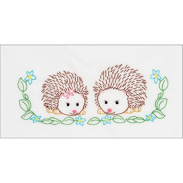 Children's Stamped Pillowcase W/White Perle Edge 1/Pkg-Hedgehogs