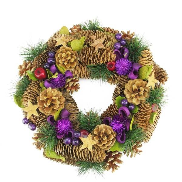"""13"""" Brown and Purple Pine Cone and Berry Artificial Christmas Wreath - Unlit - N/A"""