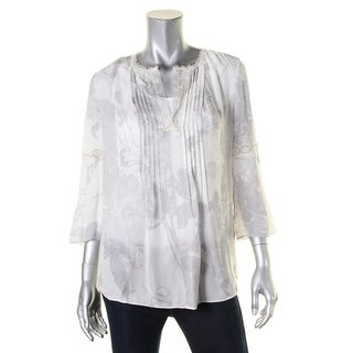 Elie Tahari Womens Tunic Top Silk Metallic Lace Trim