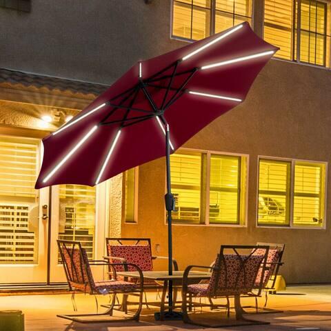 Gymax 9 FT Patio Waterproof Solar Umbrella LED Light Tilt Red