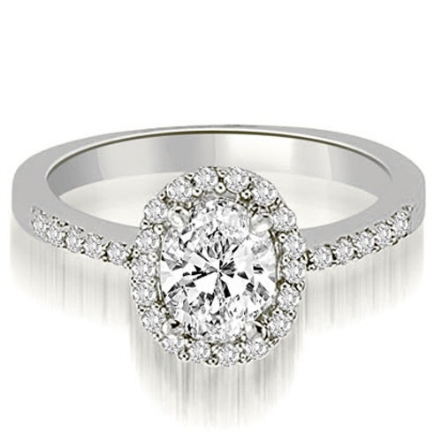 1.00 cttw. 14K White Gold Oval And Round Shape Halo Diamond Engagement Ring