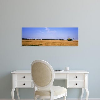 Easy Art Prints Panoramic Images's 'Combine in a field, Marion County, Illinois, USA' Premium Canvas Art