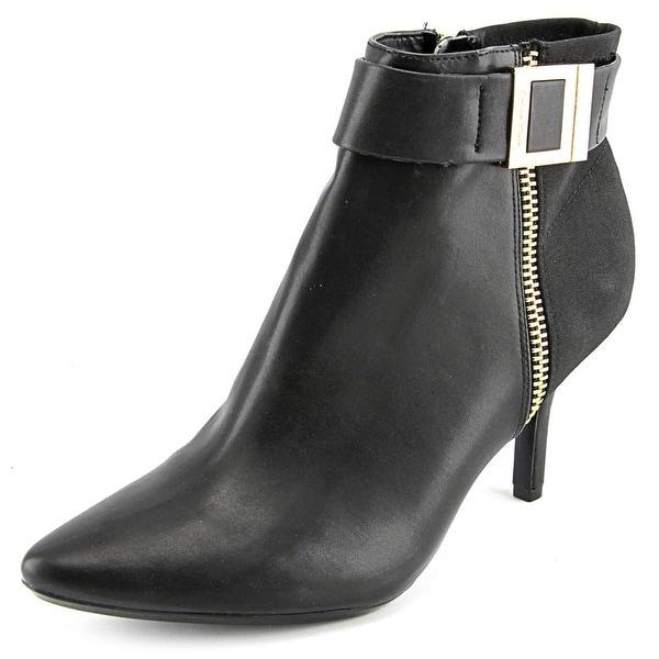 Calvin Klein Jasline Women  Pointed Toe Leather Black Bootie