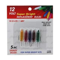 Pack of 5 Multi-Color Push-In Mini Replacement Christmas Light Bulbs - 12 Volt - multi