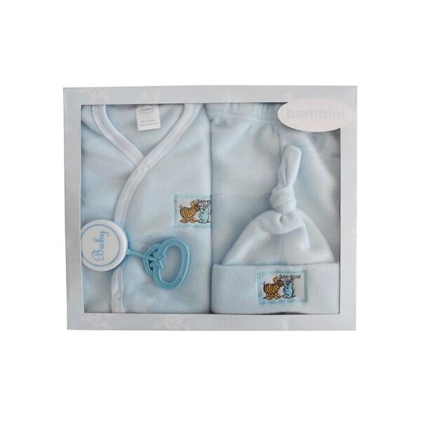 Bambini Baby Blue Newborn 4-Piece Pastel Fleece Gift Set