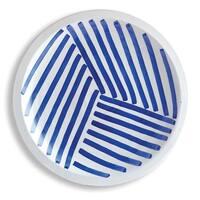 "Vibrant Blue and White Decorative Round Striped Plate 17"""