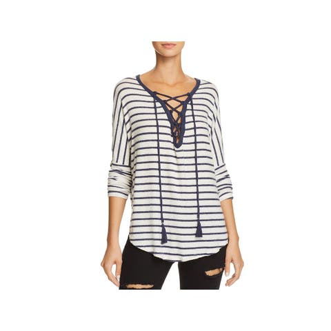 Vintage Havana Womens Pullover Top Lace-Up Striped - L