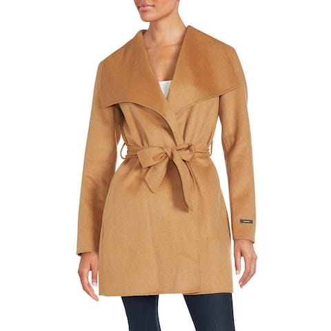 T Tahari Womens Camel Double Wrap Coat Outerwear