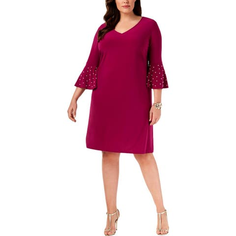 MSK Women Womens Plus Cocktail Dress Party Bell Sleeves