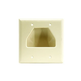 Monoprice 2-Gang Recessed Low Voltage Cable Wall Plate - Ivory